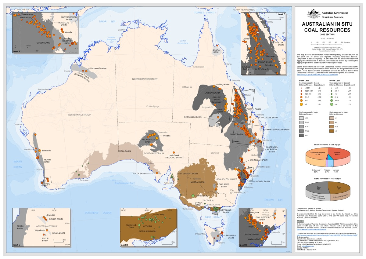 Map of all Australian coal resources