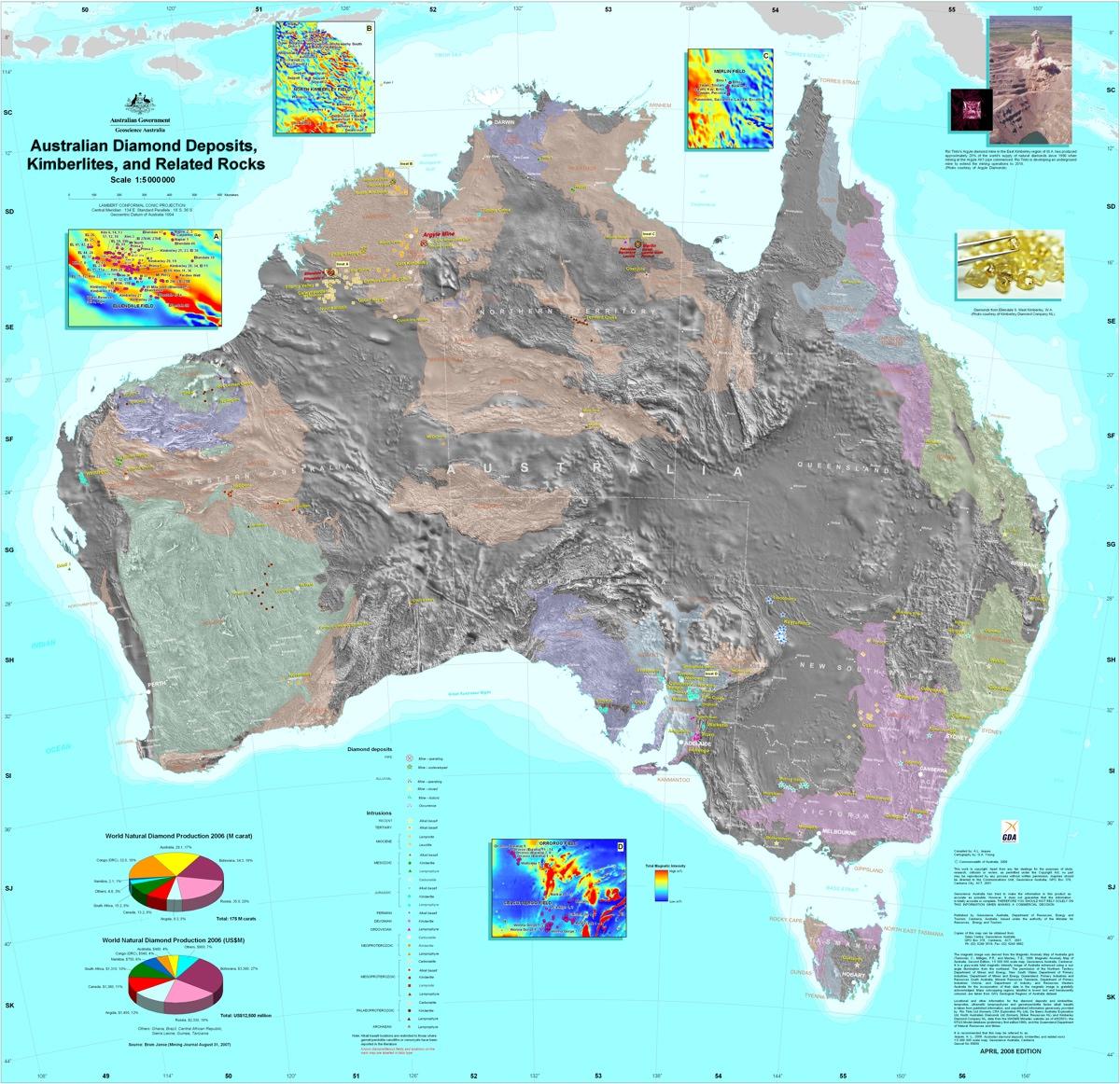Map of all Australian diamond resources