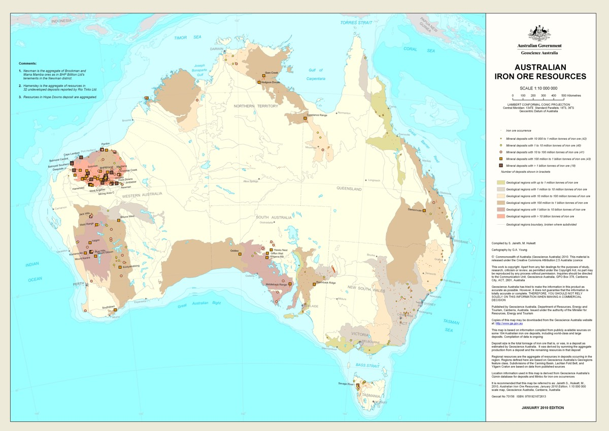 Map of all Australian iron ore resources
