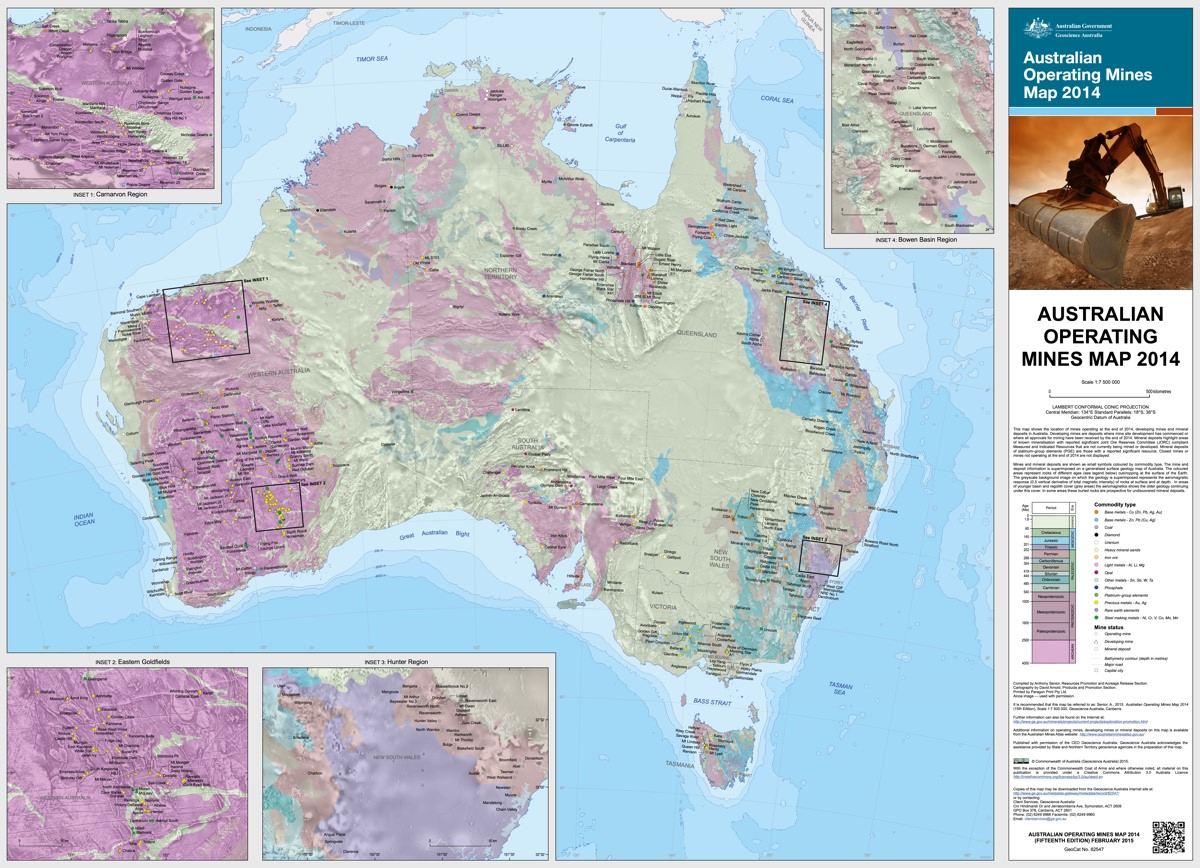 Map of all Australian operating mines (2014)