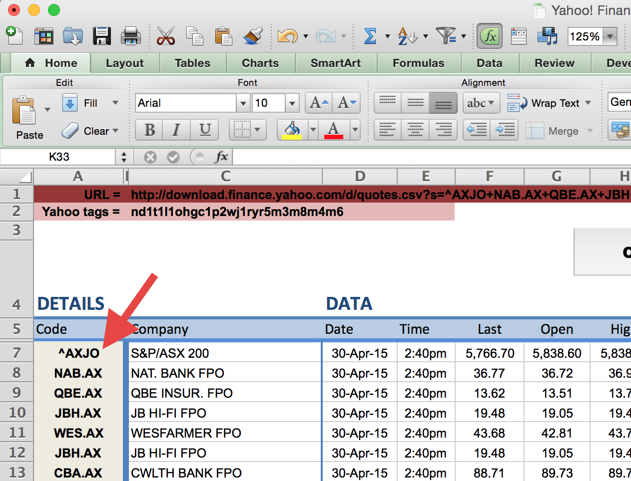 Column A in Spreadsheet Example